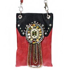 Handbags - Red Western Seed Bead Crystal Crossbody Bag